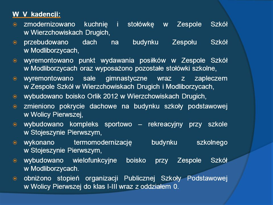 W V kadencji: zmodernizowano kuchnię i stołówkę w Zespole Szkół w Wierzchowiskach Drugich,