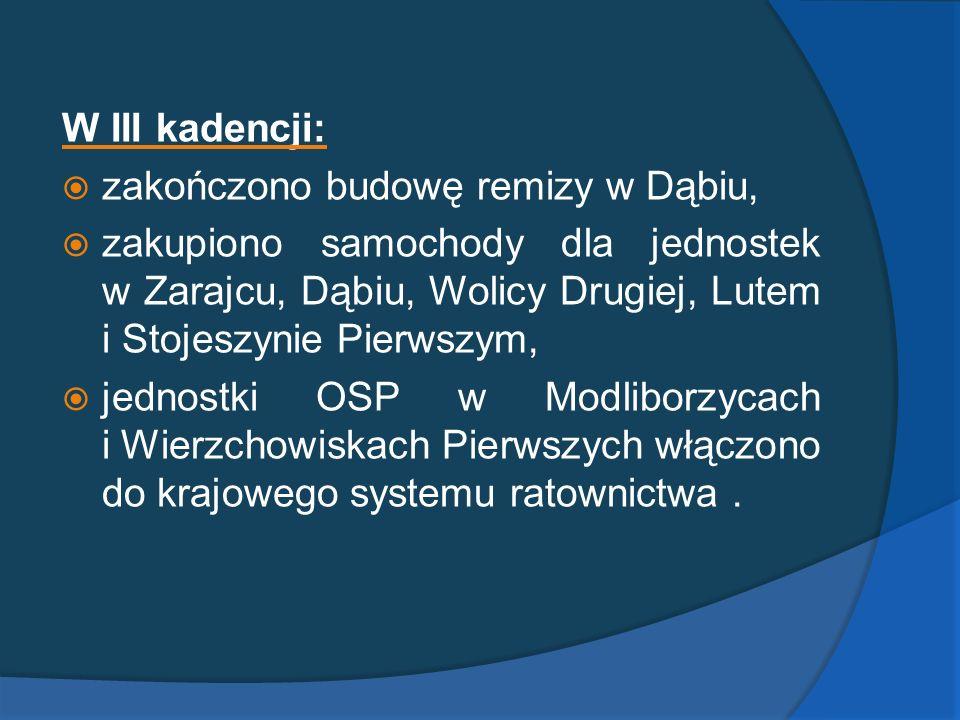W III kadencji: zakończono budowę remizy w Dąbiu,