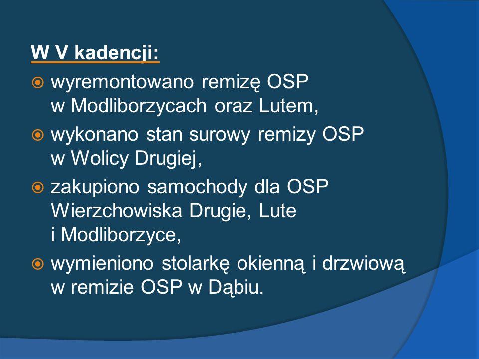 W V kadencji: wyremontowano remizę OSP w Modliborzycach oraz Lutem, wykonano stan surowy remizy OSP w Wolicy Drugiej,