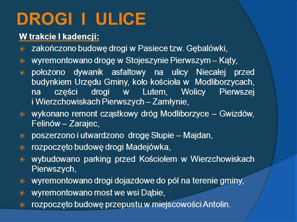 DROGI I ULICE W trakcie I kadencji: