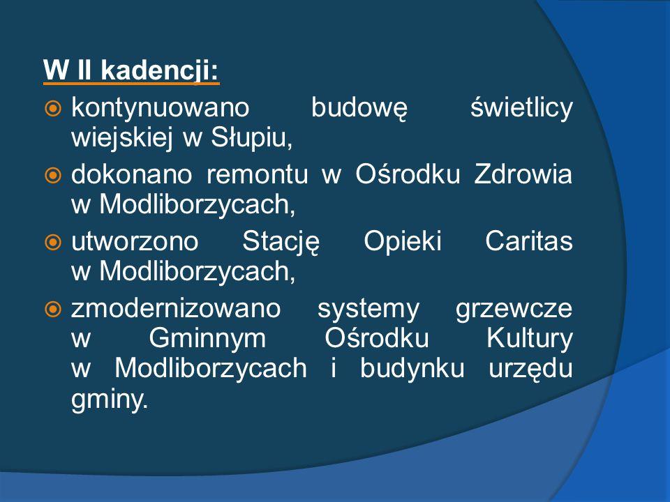 W II kadencji: kontynuowano budowę świetlicy wiejskiej w Słupiu, dokonano remontu w Ośrodku Zdrowia w Modliborzycach,