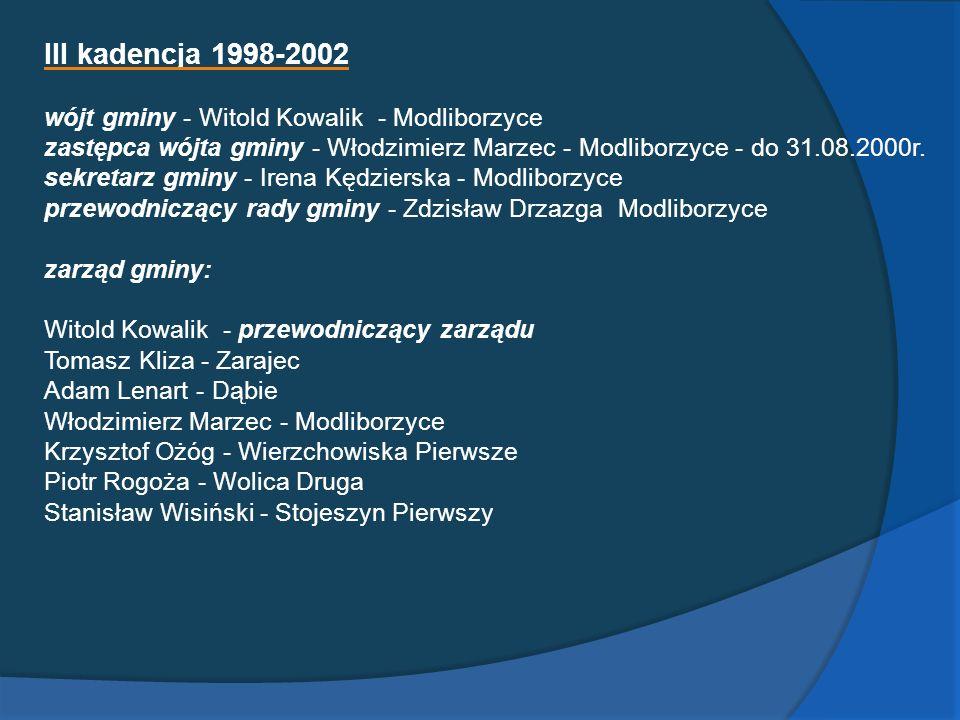 III kadencja 1998-2002 wójt gminy - Witold Kowalik - Modliborzyce