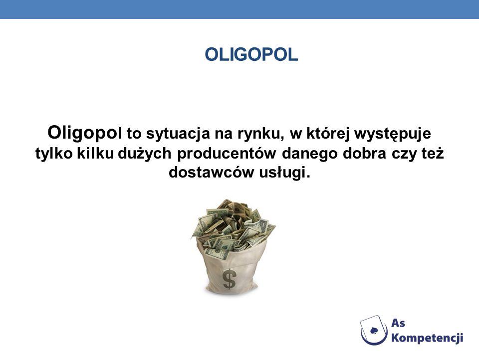 Oligopol Oligopol to sytuacja na rynku, w której występuje tylko kilku dużych producentów danego dobra czy też dostawców usługi.
