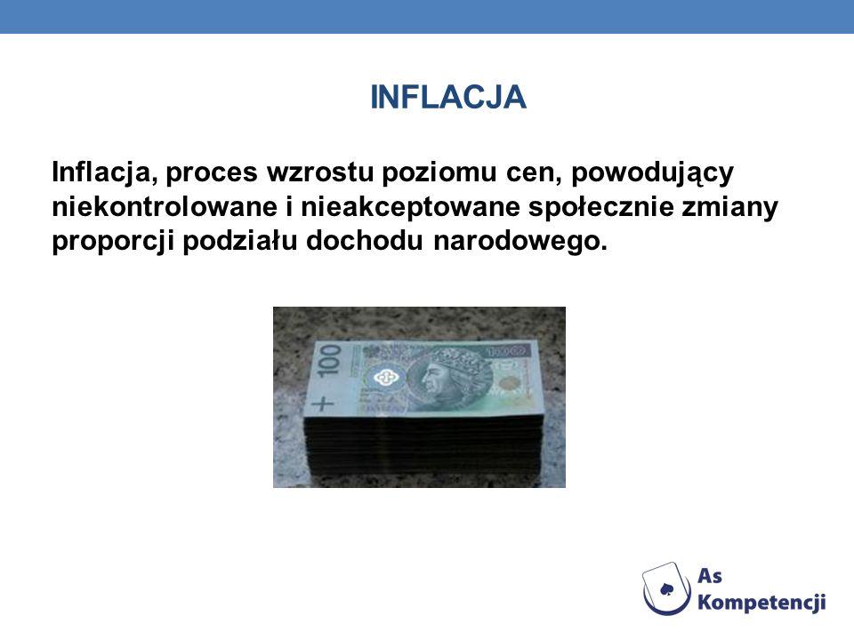 Inflacja Inflacja, proces wzrostu poziomu cen, powodujący niekontrolowane i nieakceptowane społecznie zmiany proporcji podziału dochodu narodowego.