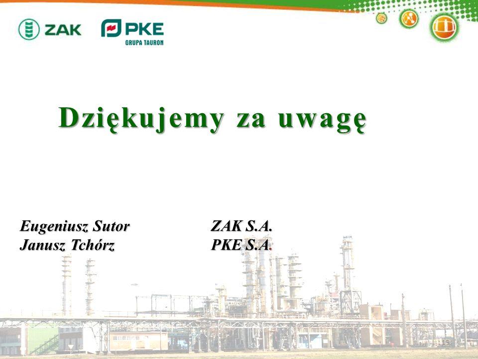 Dziękujemy za uwagę Eugeniusz Sutor ZAK S.A. Janusz Tchórz PKE S.A.