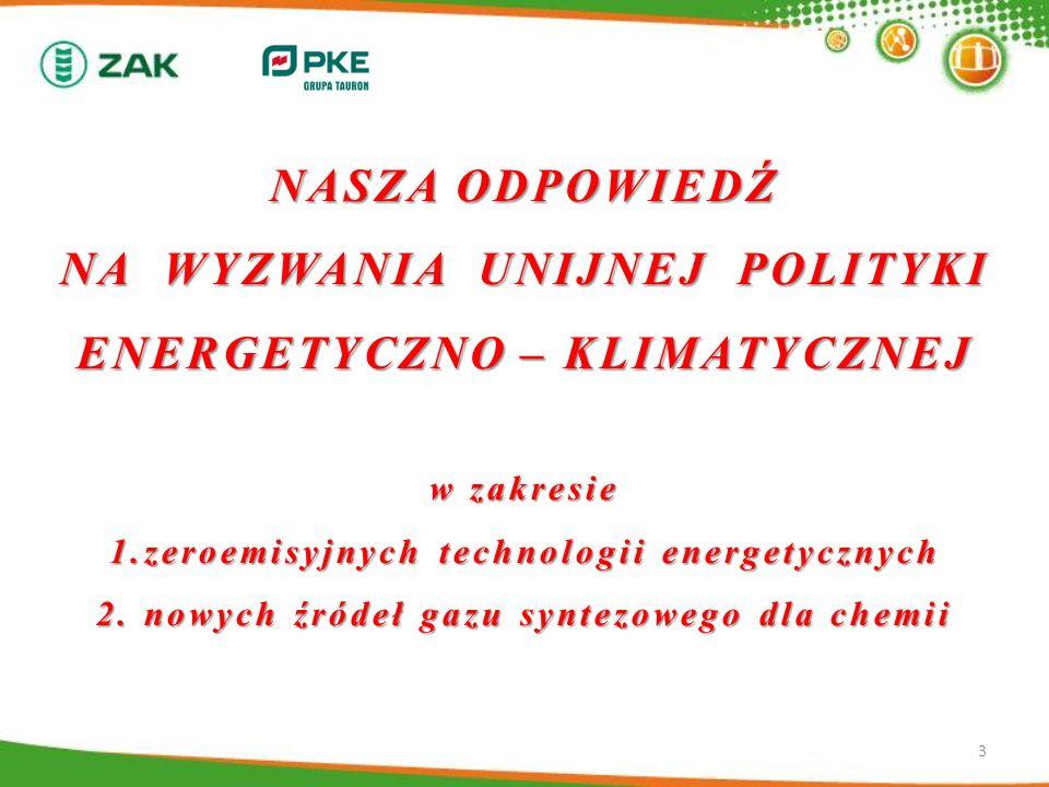 NASZA ODPOWIEDŹ NA WYZWANIA UNIJNEJ POLITYKI ENERGETYCZNO – KLIMATYCZNEJ w zakresie 1.zeroemisyjnych technologii energetycznych 2. nowych źródeł gazu syntezowego dla chemii