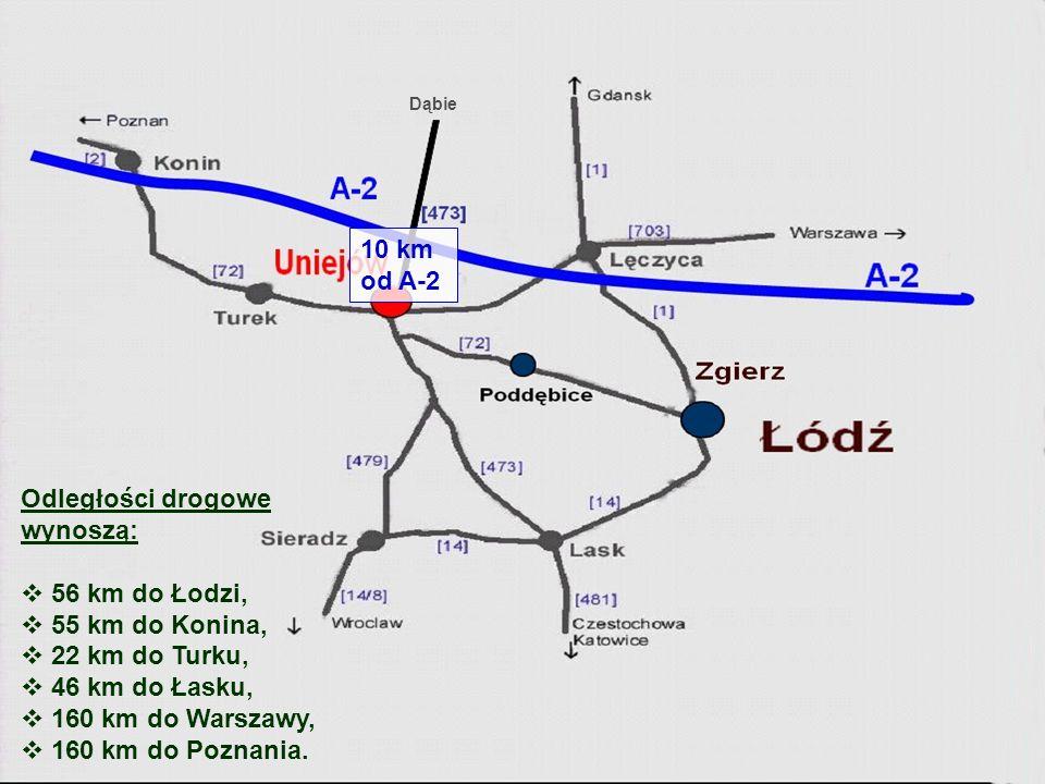 10 km od A-2 Odległości drogowe wynoszą: 56 km do Łodzi,
