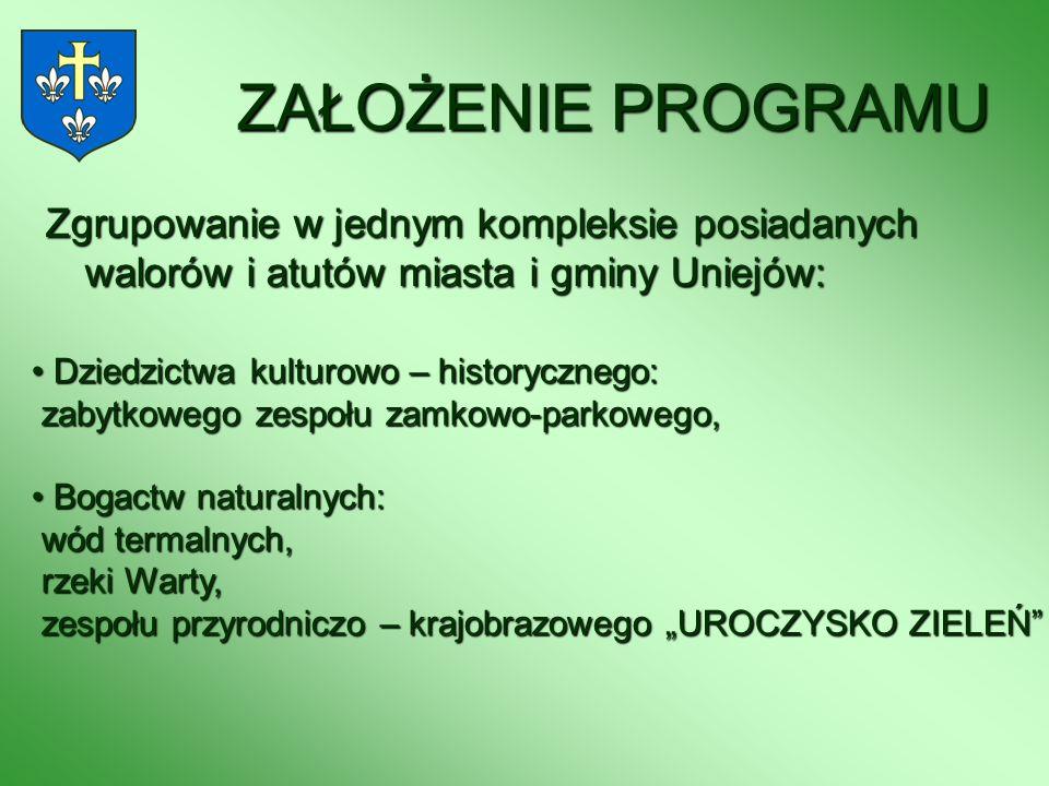 ZAŁOŻENIE PROGRAMU Zgrupowanie w jednym kompleksie posiadanych walorów i atutów miasta i gminy Uniejów: