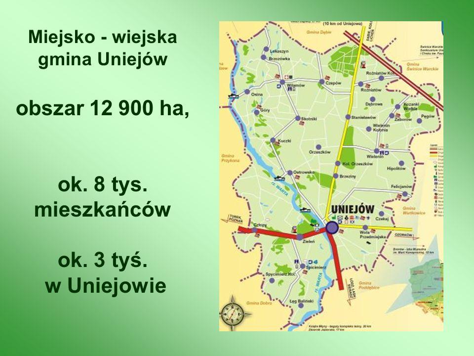 Miejsko - wiejska gmina Uniejów obszar 12 900 ha, ok. 8 tys