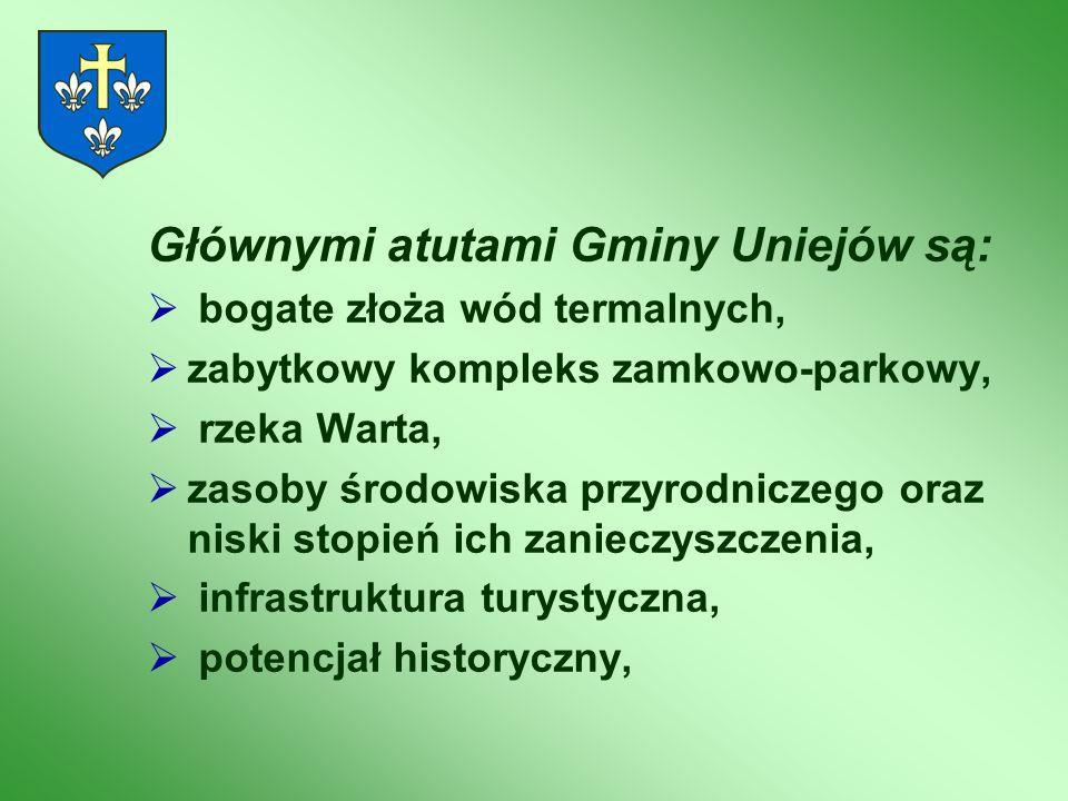 Głównymi atutami Gminy Uniejów są: