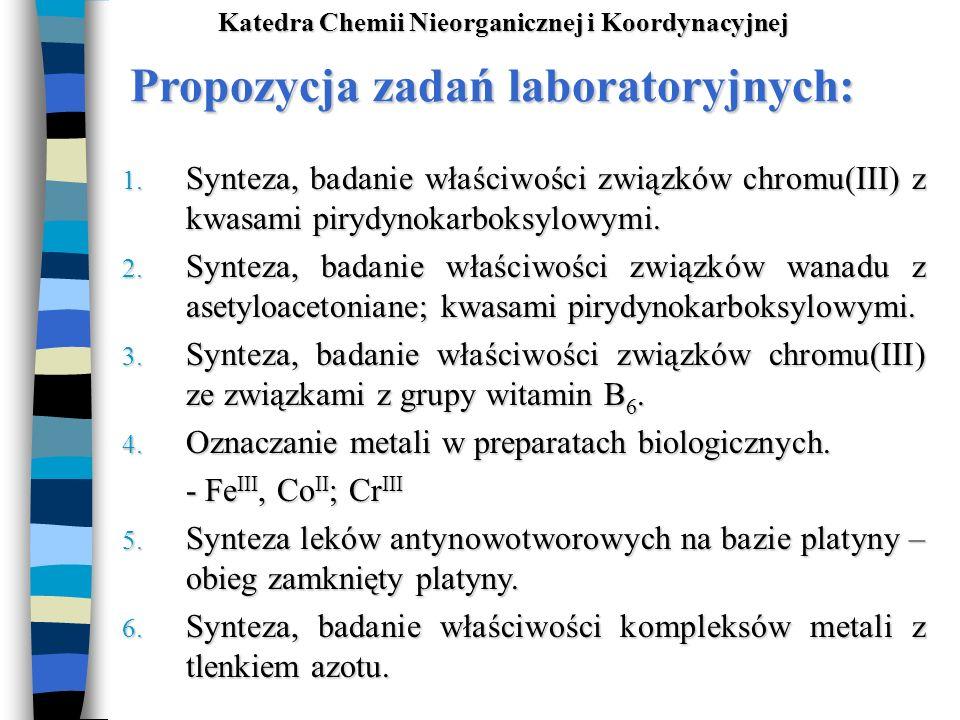 Propozycja zadań laboratoryjnych: