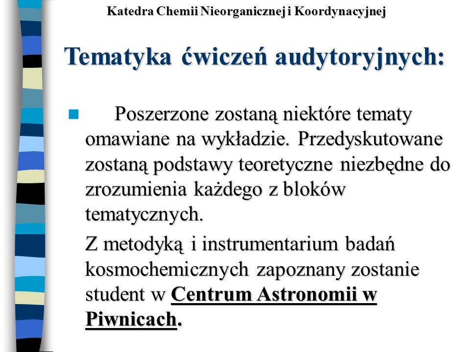 Tematyka ćwiczeń audytoryjnych: