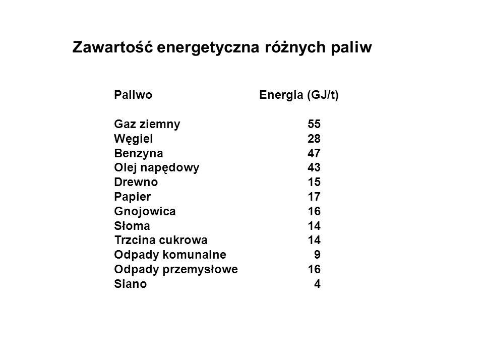 Zawartość energetyczna różnych paliw