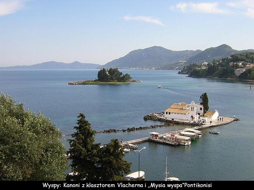 "Wyspy: Kanoni z klasztorem Vlacherna i ""Mysia wyspa Pontikonisi"