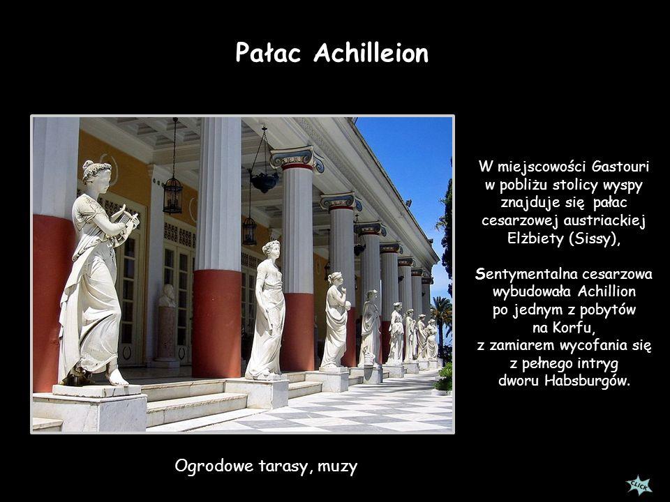Pałac Achilleion Ogrodowe tarasy, muzy W miejscowości Gastouri