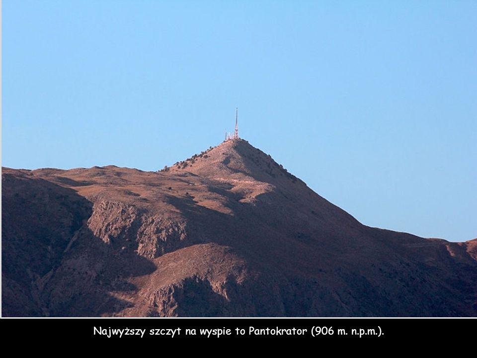 Najwyższy szczyt na wyspie to Pantokrator (906 m. n.p.m.).