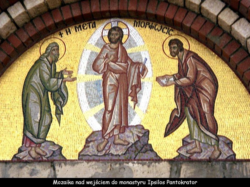 Mozaika nad wejściem do monastyru Ipsilos Pantokrator