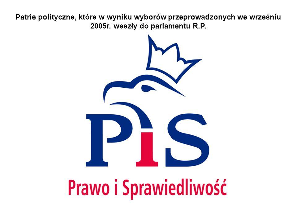 Patrie polityczne, które w wyniku wyborów przeprowadzonych we wrześniu 2005r.
