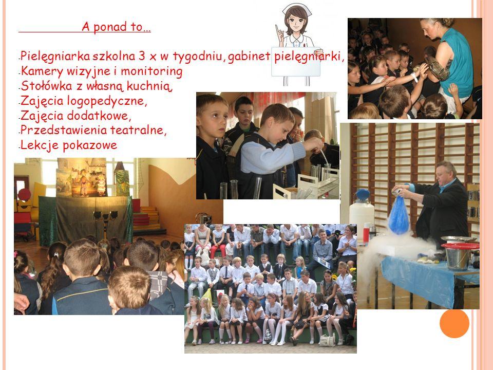 A ponad to… Pielęgniarka szkolna 3 x w tygodniu, gabinet pielęgniarki, Kamery wizyjne i monitoring.