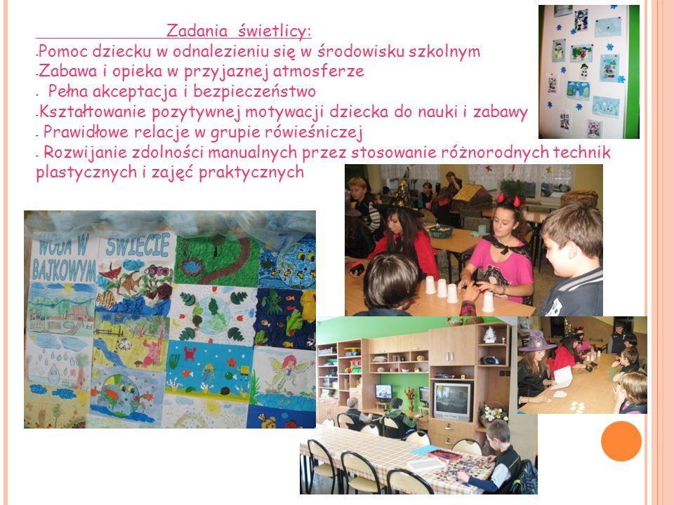 Zadania świetlicy: Pomoc dziecku w odnalezieniu się w środowisku szkolnym. Zabawa i opieka w przyjaznej atmosferze.