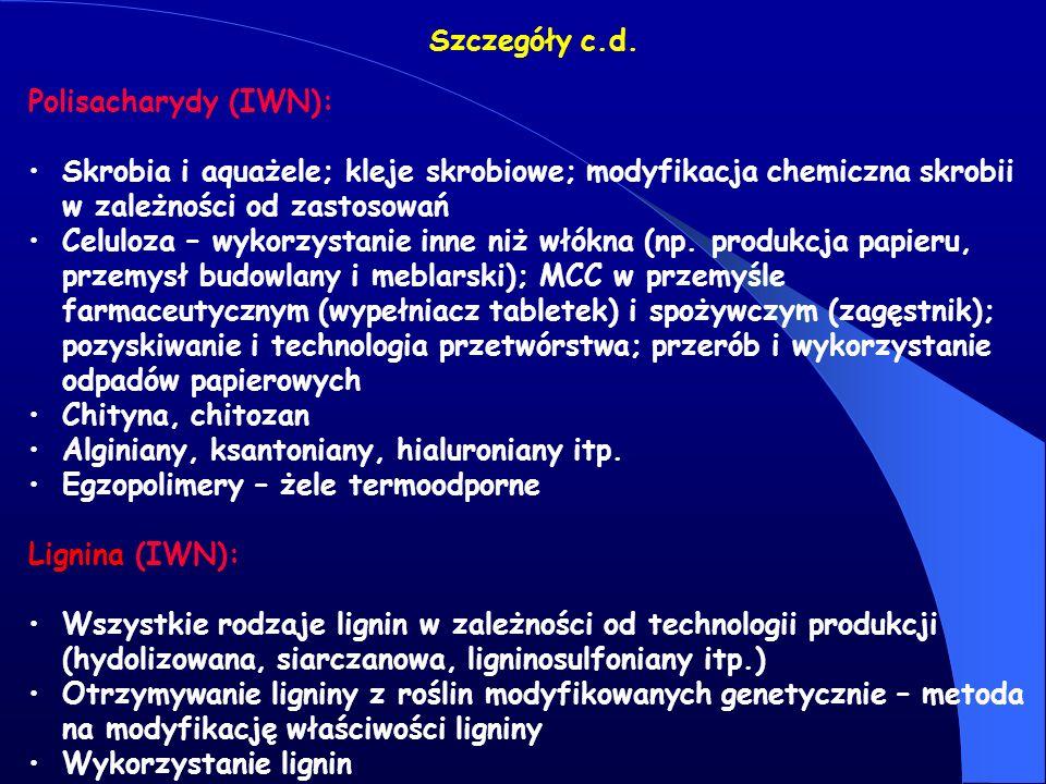 Szczegóły c.d. Polisacharydy (IWN): Skrobia i aquażele; kleje skrobiowe; modyfikacja chemiczna skrobii w zależności od zastosowań.