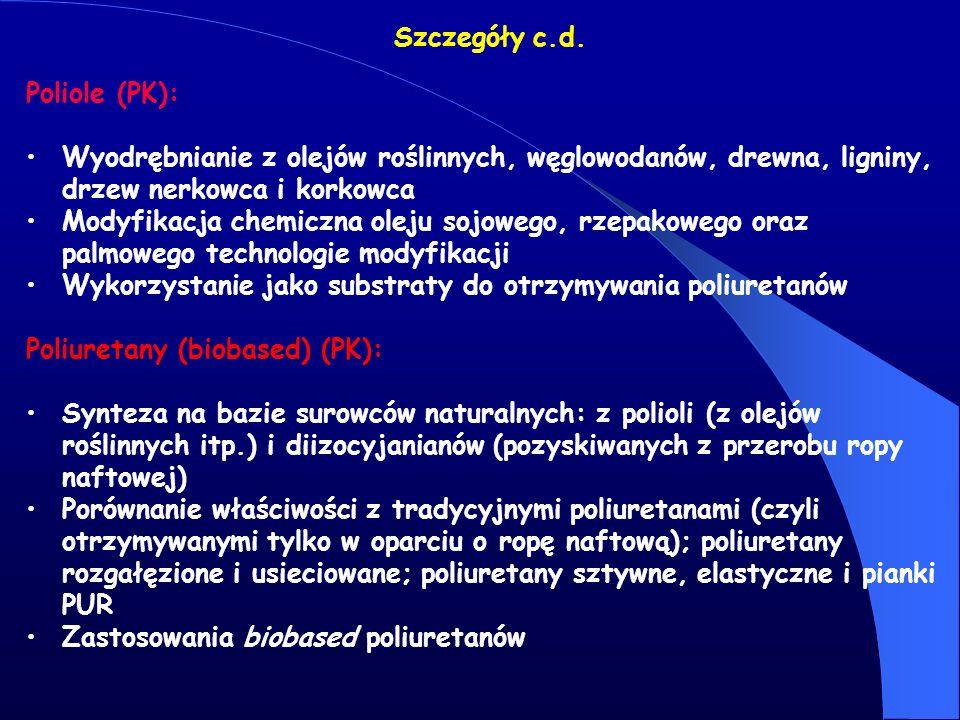 Szczegóły c.d. Poliole (PK): Wyodrębnianie z olejów roślinnych, węglowodanów, drewna, ligniny, drzew nerkowca i korkowca.