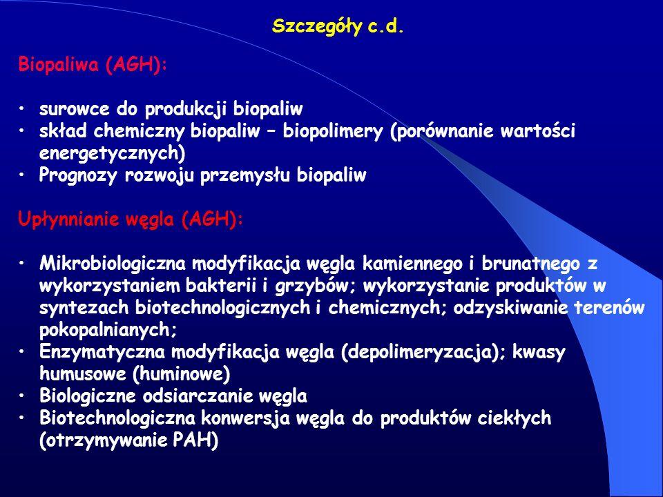 Szczegóły c.d. Biopaliwa (AGH): surowce do produkcji biopaliw. skład chemiczny biopaliw – biopolimery (porównanie wartości energetycznych)
