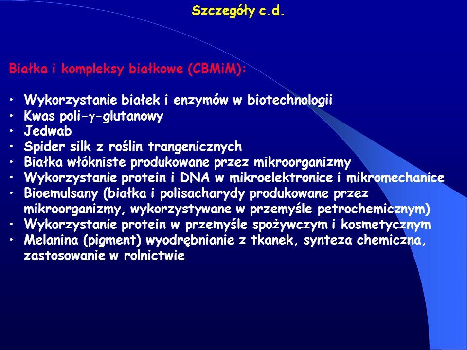 Szczegóły c.d. Białka i kompleksy białkowe (CBMiM): Wykorzystanie białek i enzymów w biotechnologii.