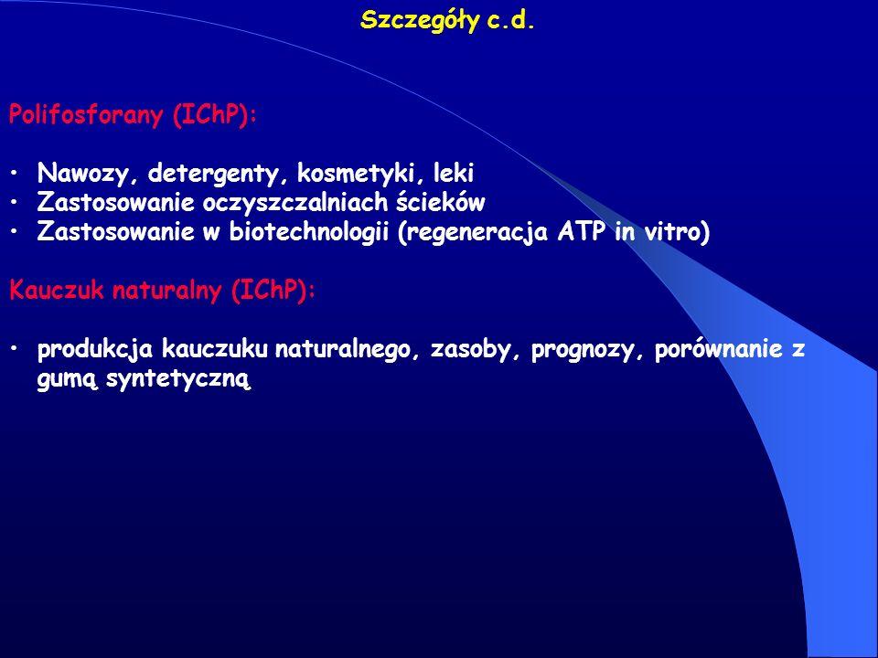 Szczegóły c.d. Polifosforany (IChP): Nawozy, detergenty, kosmetyki, leki. Zastosowanie oczyszczalniach ścieków.