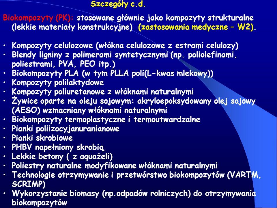 Szczegóły c.d. Biokompozyty (PK): stosowane głównie jako kompozyty strukturalne (lekkie materiały konstrukcyjne) (zastosowania medyczne – W2).
