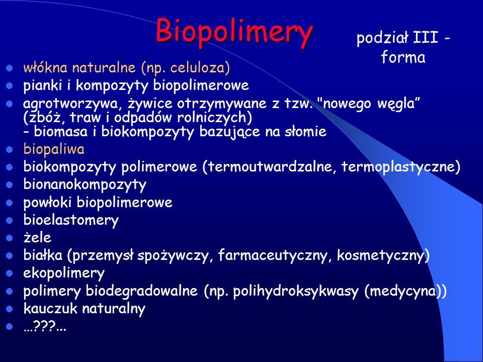 Biopolimery podział III - forma włókna naturalne (np. celuloza)