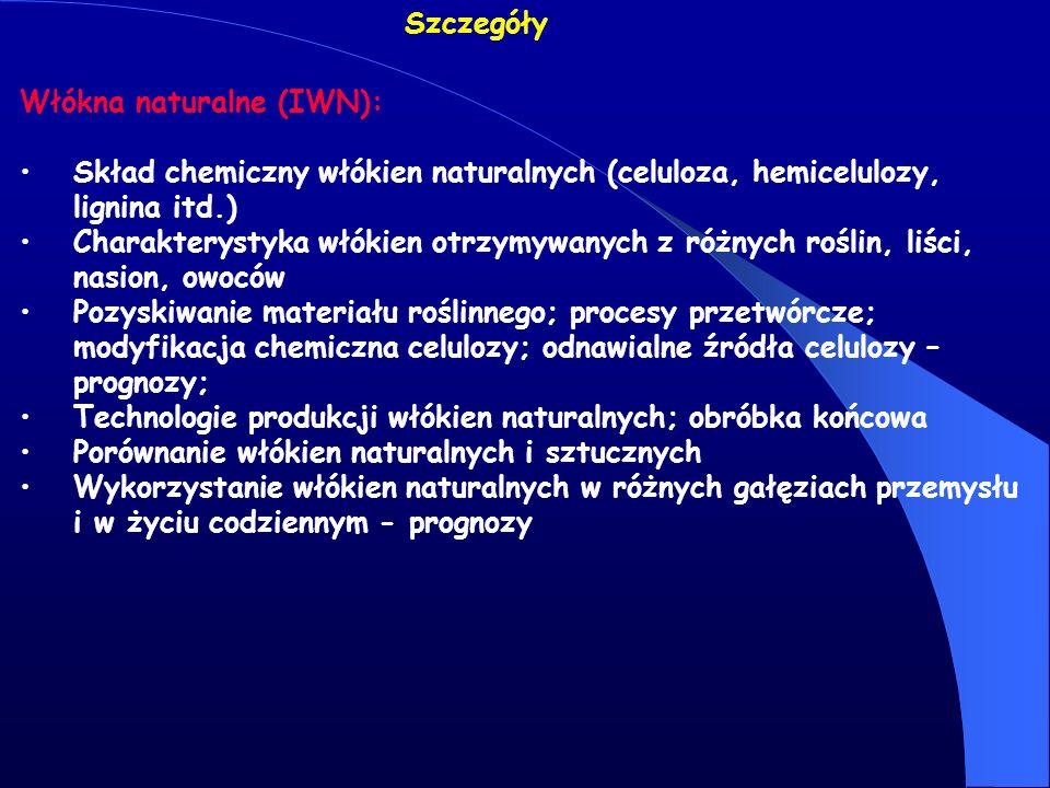 Szczegóły Włókna naturalne (IWN): Skład chemiczny włókien naturalnych (celuloza, hemicelulozy, lignina itd.)