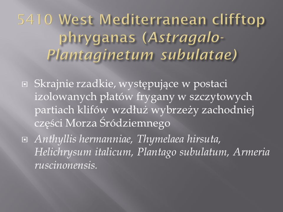 5410 West Mediterranean clifftop phryganas (Astragalo- Plantaginetum subulatae)