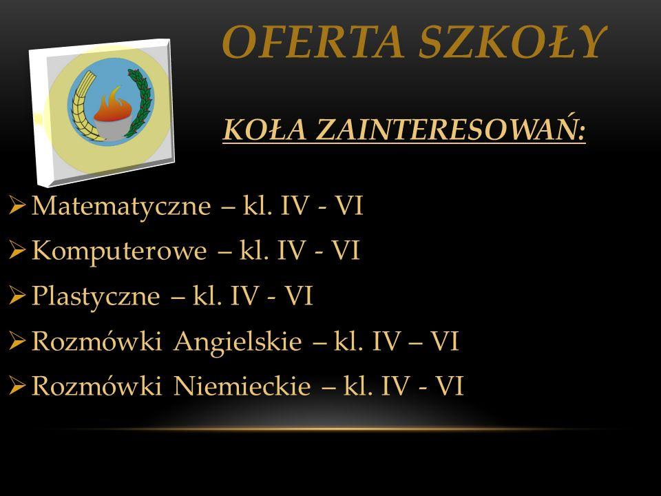 OFERTA SZKOŁY Matematyczne – kl. IV - VI Komputerowe – kl. IV - VI