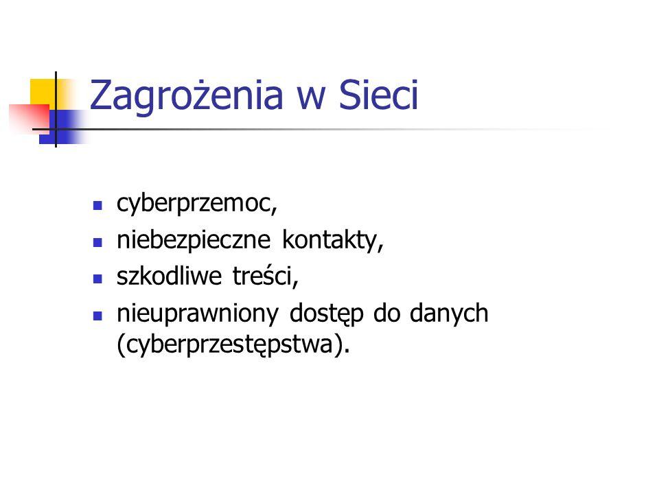 Zagrożenia w Sieci cyberprzemoc, niebezpieczne kontakty,