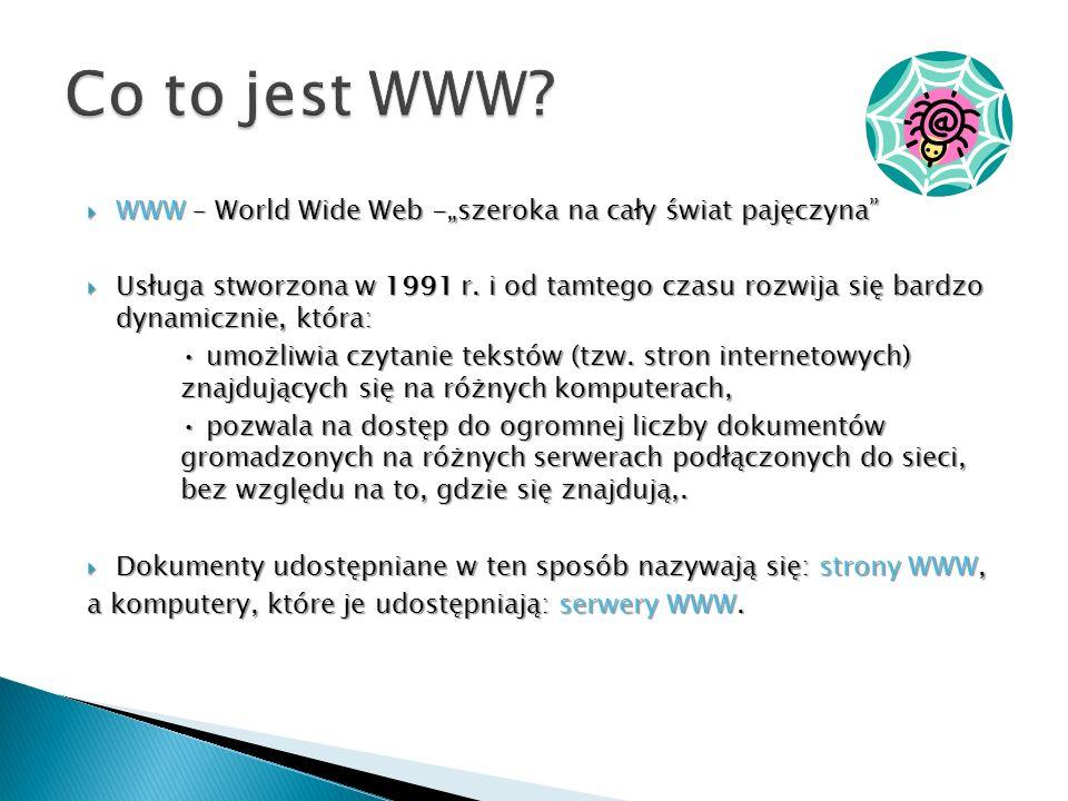 """Co to jest WWW WWW – World Wide Web -""""szeroka na cały świat pajęczyna"""