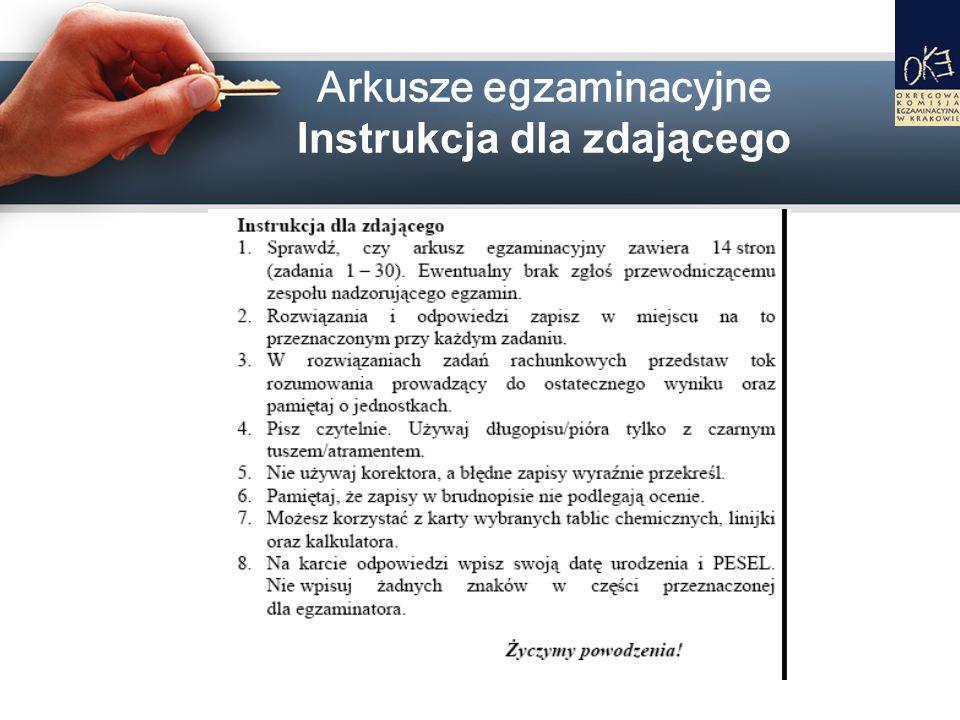 Arkusze egzaminacyjne Instrukcja dla zdającego