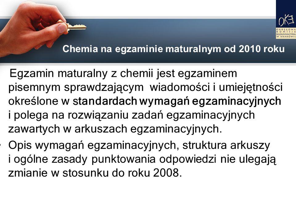 Chemia na egzaminie maturalnym od 2010 roku