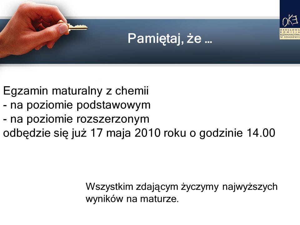 Pamiętaj, że … Egzamin maturalny z chemii na poziomie podstawowym