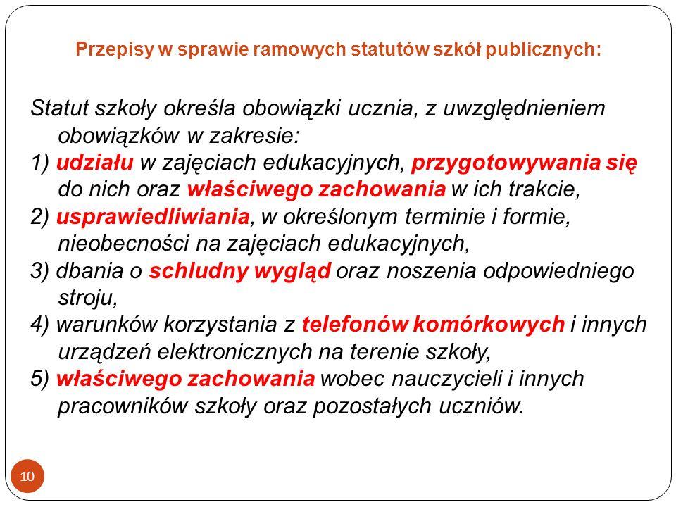 Przepisy w sprawie ramowych statutów szkół publicznych: