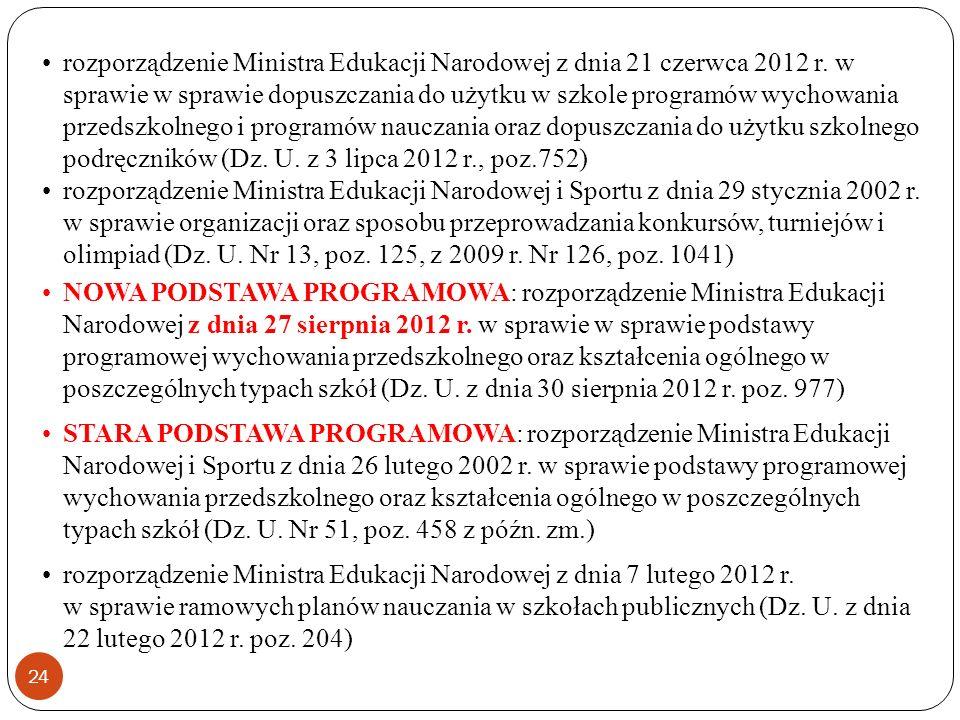 rozporządzenie Ministra Edukacji Narodowej z dnia 21 czerwca 2012 r