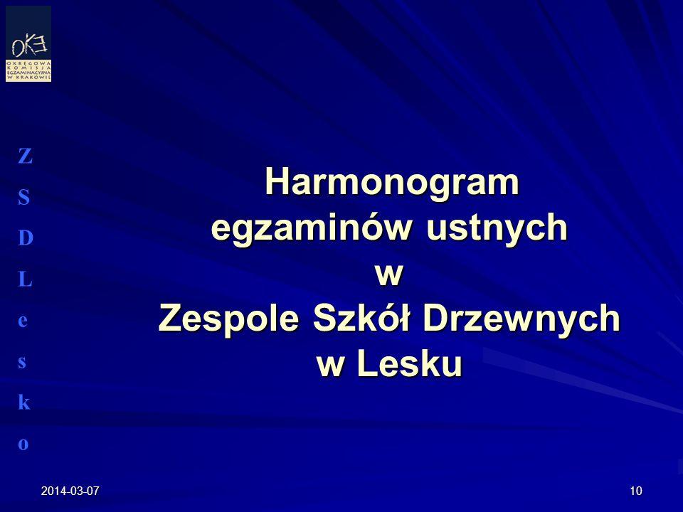 Harmonogram egzaminów ustnych w Zespole Szkół Drzewnych w Lesku