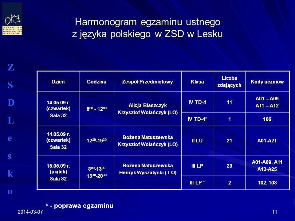 Harmonogram egzaminu ustnego z języka polskiego w ZSD w Lesku