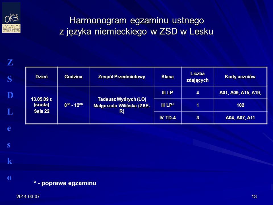 Harmonogram egzaminu ustnego z języka niemieckiego w ZSD w Lesku