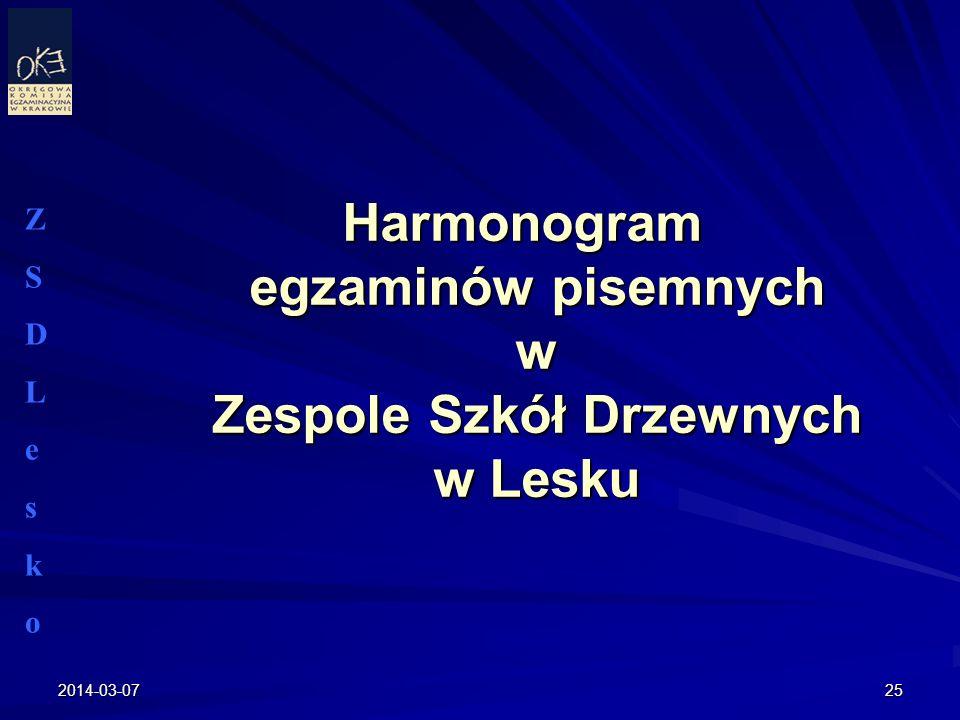 Harmonogram egzaminów pisemnych w Zespole Szkół Drzewnych w Lesku