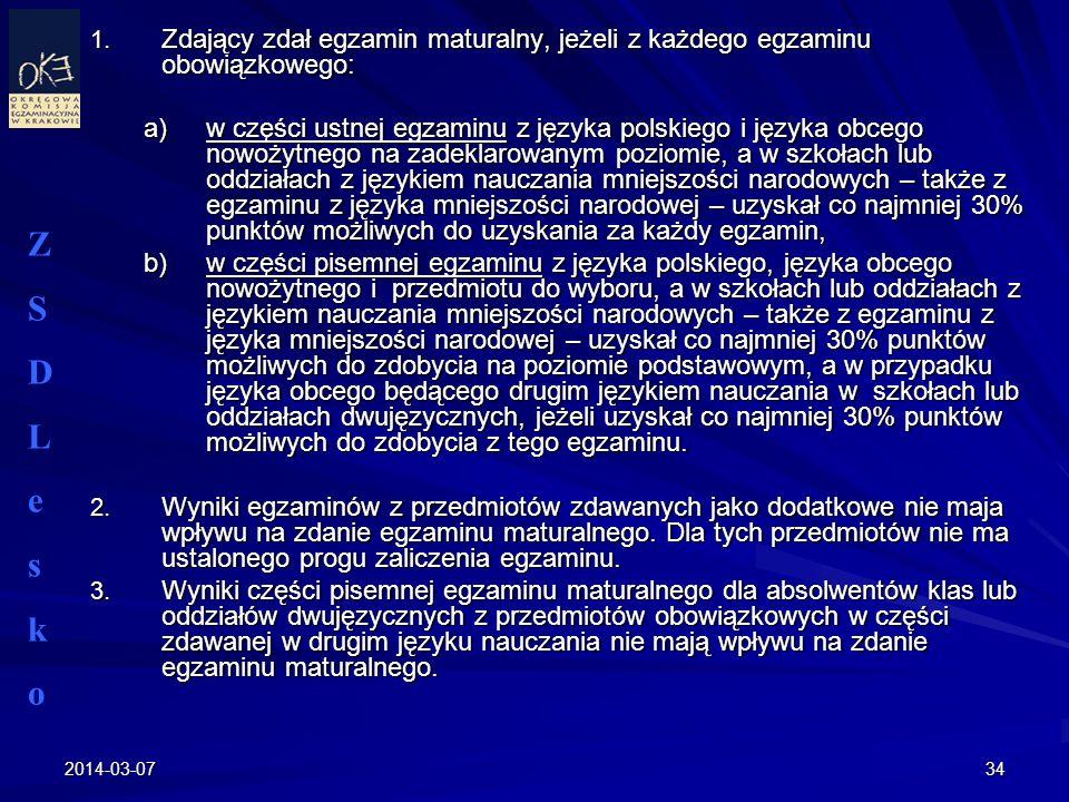 Zdający zdał egzamin maturalny, jeżeli z każdego egzaminu obowiązkowego: