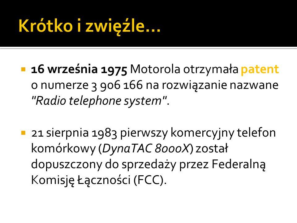 Krótko i zwięźle… 16 września 1975 Motorola otrzymała patent o numerze 3 906 166 na rozwiązanie nazwane Radio telephone system .