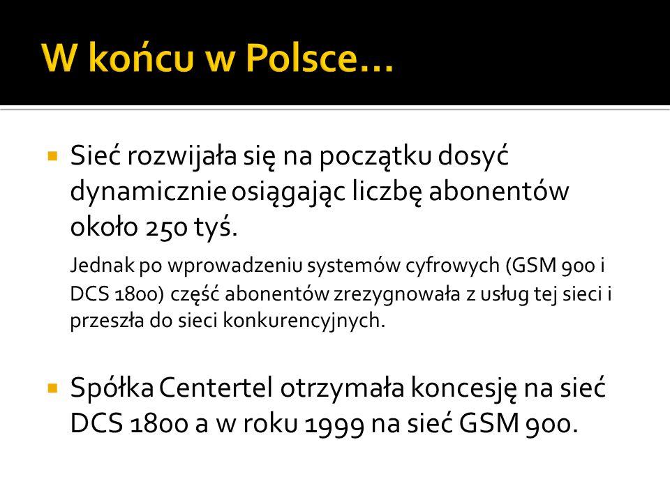 W końcu w Polsce… Sieć rozwijała się na początku dosyć dynamicznie osiągając liczbę abonentów około 250 tyś.