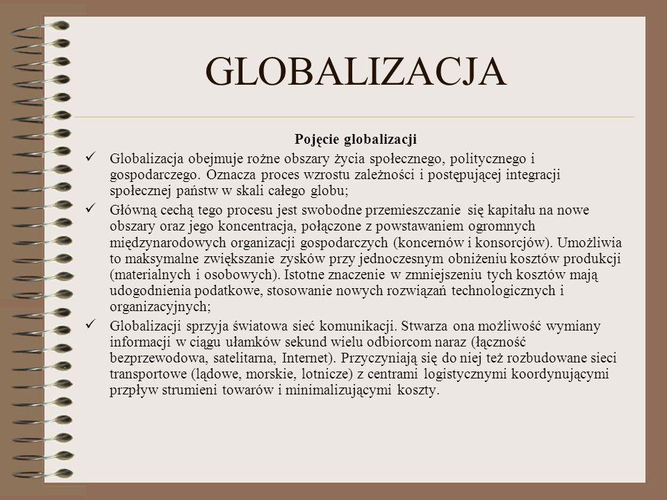GLOBALIZACJA Pojęcie globalizacji