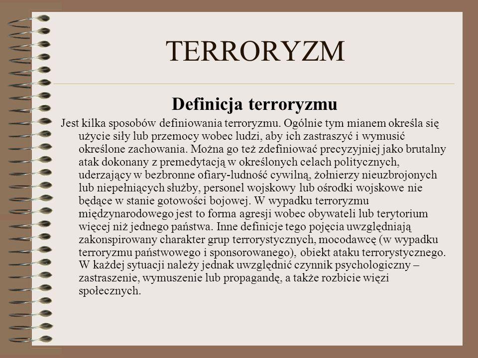 TERRORYZM Definicja terroryzmu